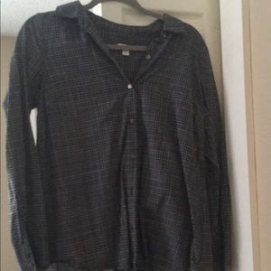 Dark grey and white plaid blouse
